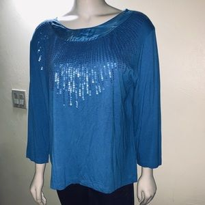 Chico's| Long Sleeves Sequined Tee